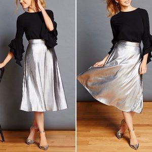 Cremieux Kyla Pleated Metallic Midi Skirt Silver